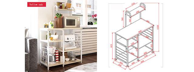 3-Tier Kitchen Baker's Rack Utility Microwave Oven Stand Storage Cart Workstation Shelf Yellow Oak