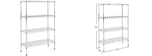 AmazonBasics 4-Tier Wire Storage Shelves Rack, Black