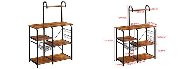 "Mr. IRONSTONE Vintage Kitchen Baker's Rack Utility Storage Shelf 35.5"" Microwave Stand"